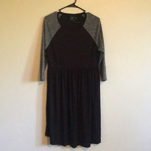 Black and gray maternity dress